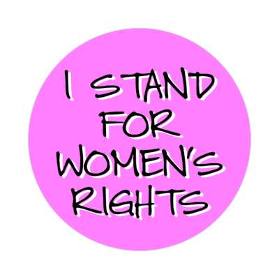 i stand for womens rights handwritten magenta sticker