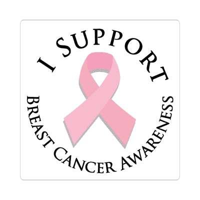 i support breast cancer awareness pink ribbon sticker