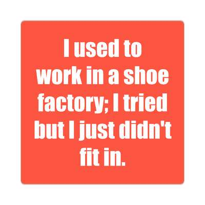 i used to work in a shoe factory i tried but i just didnt fit in sticker