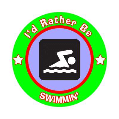 id rather be swimming sticker