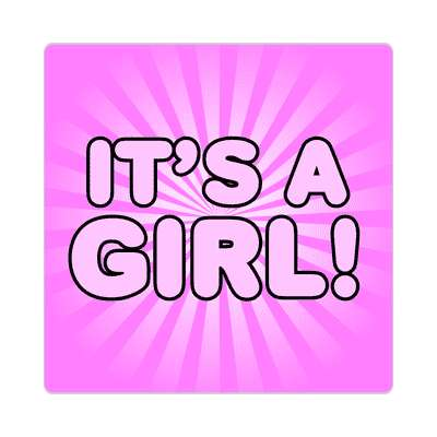 its a girl pink rays bold sticker