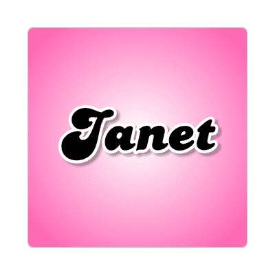janet female name pink sticker