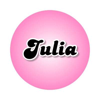 julia female name pink sticker