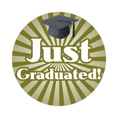 just graduated brown rays graduation cap sticker