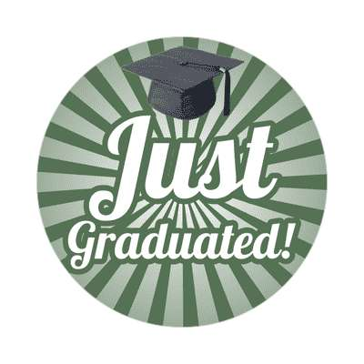 just graduated deep green rays graduation cap sticker