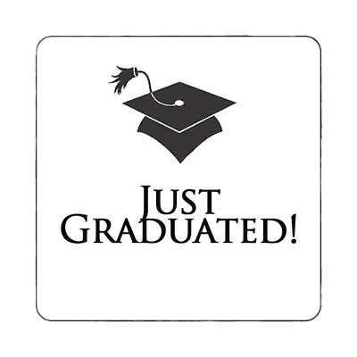 just graduated graduation cap white magnet