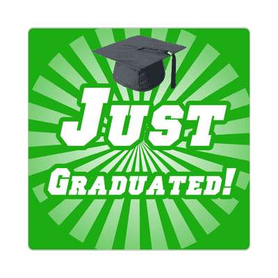 just graduated green rays graduation cap sticker