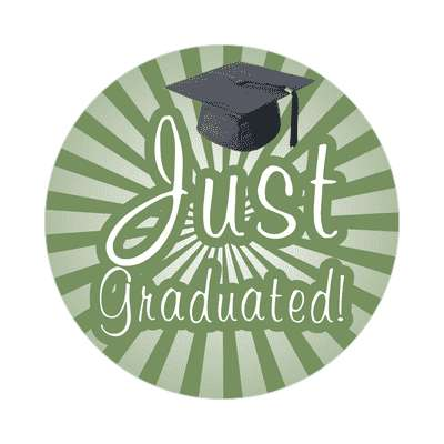 just graduated rays graduation cap green sticker