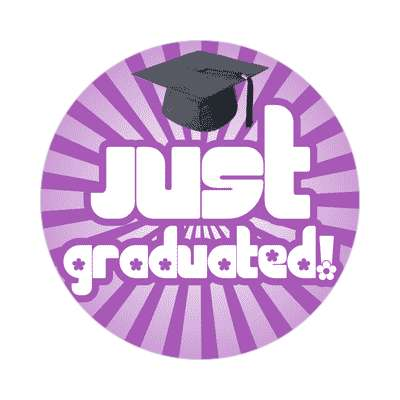 just graduated rays purple graduation cap sticker