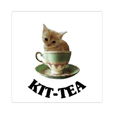 kitty tea tiny cat sticker