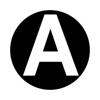 letter a uppercase black white sticker