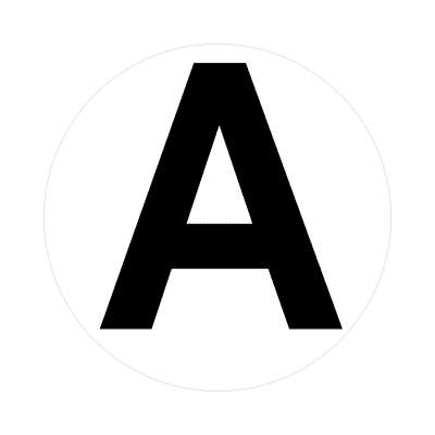 letter a uppercase white black sticker