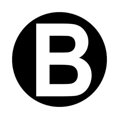 letter b uppercase black white sticker