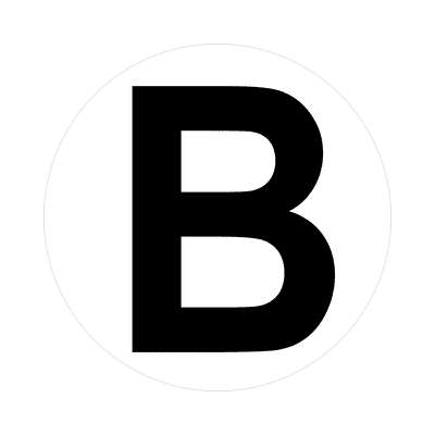 letter b uppercase white black sticker