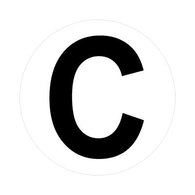 letter c uppercase white black sticker