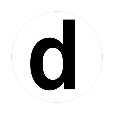 letter d lowercase white black sticker