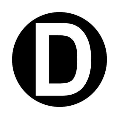 letter d uppercase black white sticker