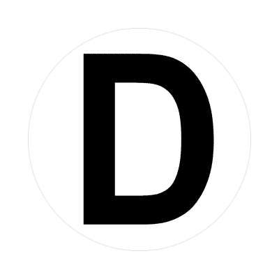 letter d uppercase white black sticker