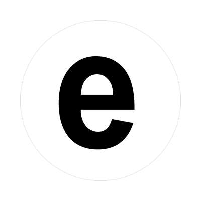letter e lowercase white black sticker