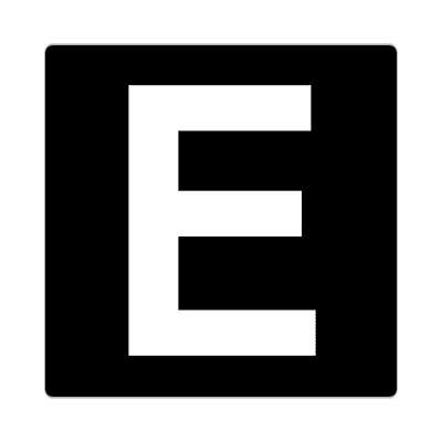 letter e uppercase black white sticker