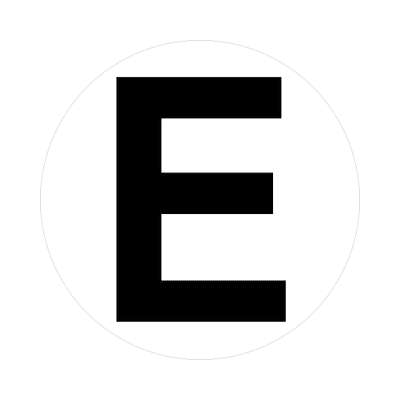 letter e uppercase white black sticker