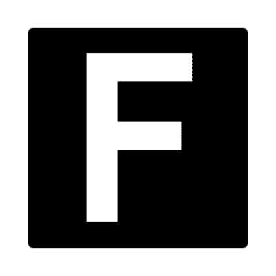 letter f uppercase black white sticker