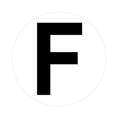 letter f uppercase white black sticker