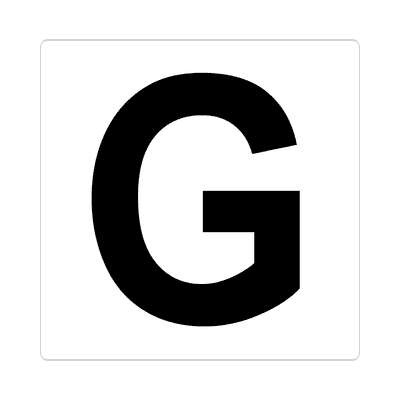 letter g uppercase white black sticker