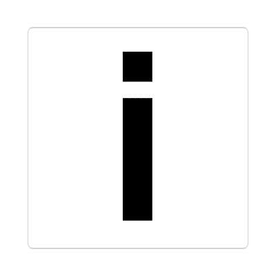 letter i lowercase white black sticker