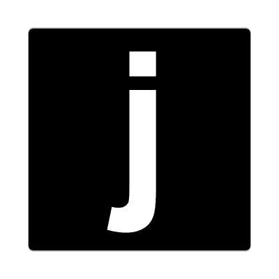 letter j lowercase black white sticker