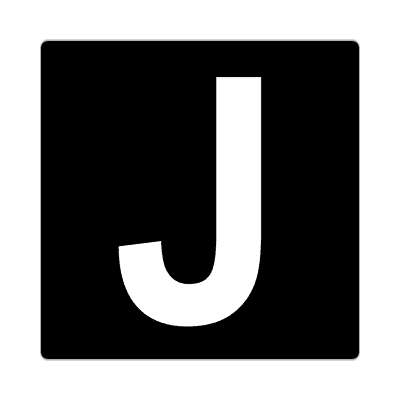 letter j uppercase black white sticker