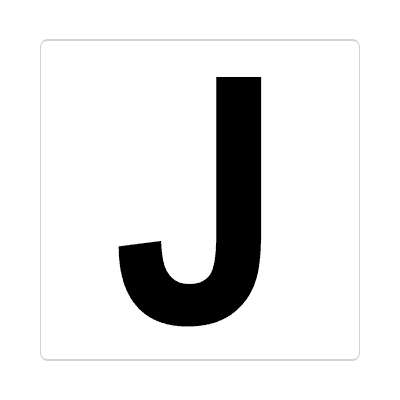 letter j uppercase white black sticker