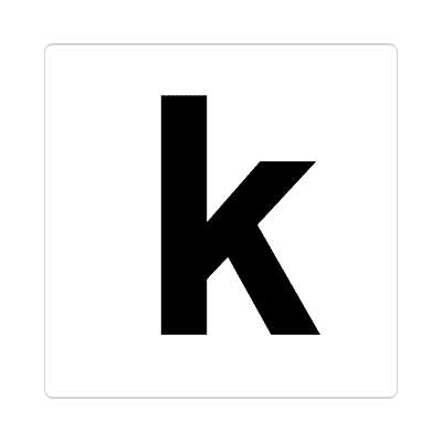 letter k lowercase white black sticker