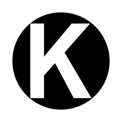 letter k uppercase black white sticker