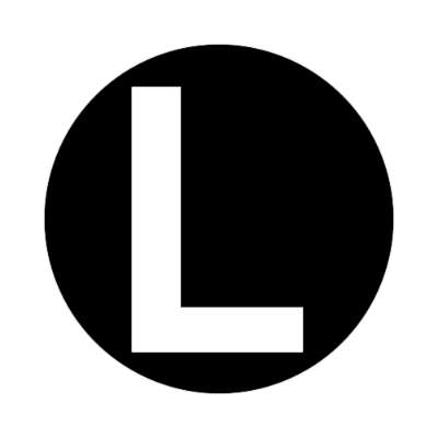 letter l uppercase black white sticker