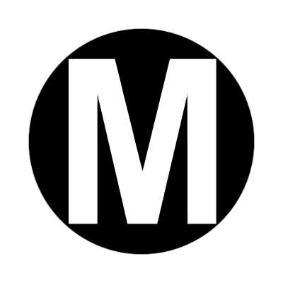 letter m uppercase black white sticker