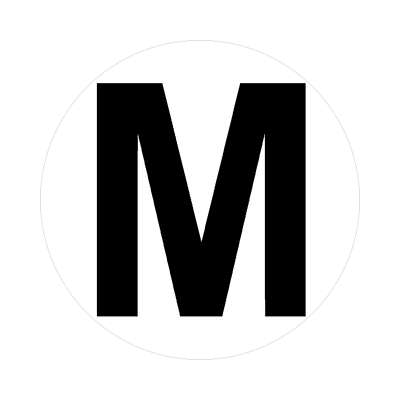 letter m uppercase white black sticker