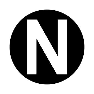 letter n uppercase black white sticker