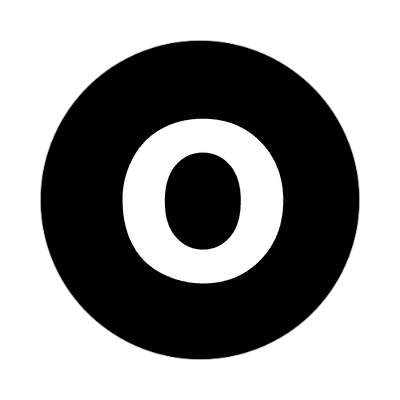 letter o lowercase black white sticker