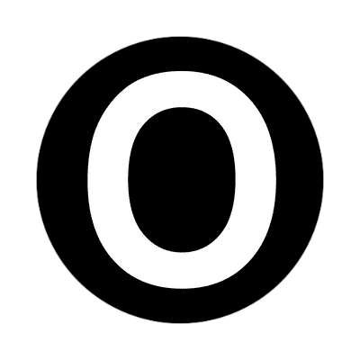 letter o uppercase black white sticker