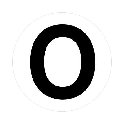 letter o uppercase white black sticker