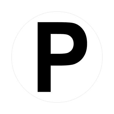 letter p uppercase white black sticker