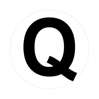 letter q uppercase white black sticker