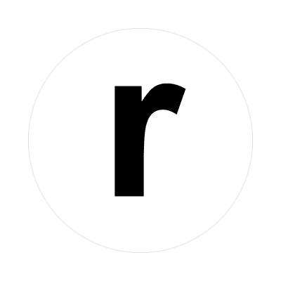 letter r lowercase white black sticker