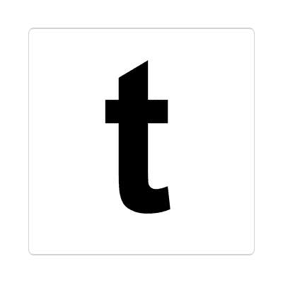 letter t lowercase white black sticker