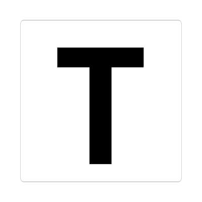 letter t uppercase white black sticker