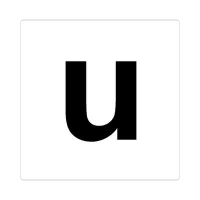 letter u lowercase white black sticker