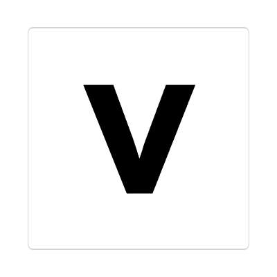 letter v lowercase white black sticker