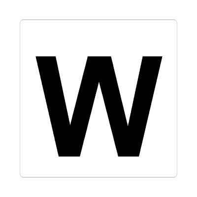 letter w uppercase white black sticker