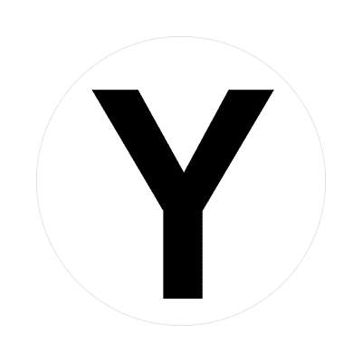 letter y uppercase white black sticker